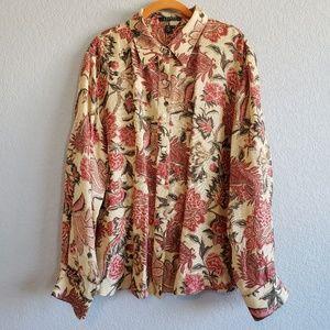 Lauren Ralph Lauren   Silk Linen Blend Floral Top
